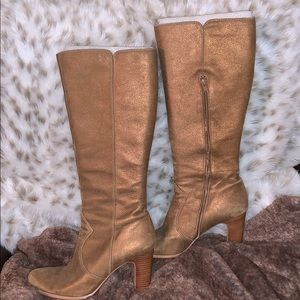 Anne Klein gold heeled boots